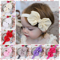Cheap Free Shipping 20 pcs  lot 2014 new Elastic bow knot Headbands baby girl's chiffon flower hairbands kids floral hair accessory