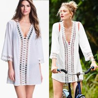 women dress suits - 2015 New Women Sexy Bikini Cover Up Lace Hollow Crochet Swim Suit Swimwear Beach Dress