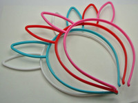 achat en gros de bandeaux de couleur en plastique-10 Mixed Couleur Plastique Rabbit Bunny Ear Headband bande de cheveux avec dents