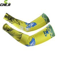 Wholesale Cycling Protector CHEJI Team Bicycle Arm Sleeve Cover Bike Warmers UV Sun Protection S M L XL XXL Yellow Butterfly Winter Warm Thermal New