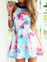 Wholesale 2016 Women Summer Style Dress Vestidos Floral Sleeveless Mini A Line Backless Casual Skater Dress