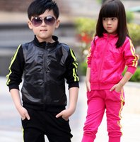 jogging suits - New children sport set jogging sportswear kids jacket pants for boys girls track suit shampooers clothes spring autumn clothing