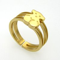 bear band - Bear Rings High Polished L Stainless Steel Gold Plated Cuff Rings for Men and Women SR00765