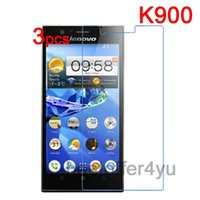 Cheap Wholesale-3pcs lot New Anti-scratch CLEAR LCD Lenovo K900 Screen Protector Guard Cover Film For Lenovo K900 + Cleaning Cloth