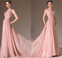 Wholesale New Elegant Pink Prom Gown A Line Sleeveless China Simple Sexy V Neck Lace Sheer Back Vintage Elie Saab A Line Evening Dresses VT
