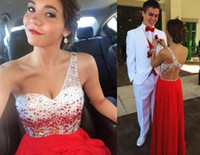 Reference Images A-Line Jewel/Bateau 2015 One Shoulder Prom Dresses Cheap Luxury Beaded Sequins Vintage Evening Gowns Special Dance Backless Sleeveless Women Formal Prom Dress