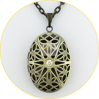 antique diamond locket - 2015 hot antique bronze brushed vintage copper oval shape Necklaces hollow filigree locket pendant necklace prayer jewelry