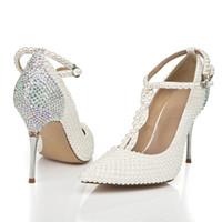 Wholesale Gourgeous Wedding Shoes cm Pointed Toe Imitation Pearl Rhinestone Custom Made Women s Prom Party Evening Dress Wedding Bridal Shoes