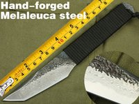 best forged blades - Very sharp Hand forged Melaleuca steel hunting knife survival knives Camping Outdoor tools Rescue Knives Best Gift
