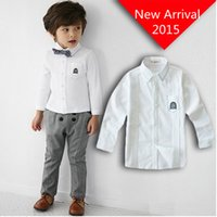 Wholesale 2015 New Cotton Long Sleeve White Boys Shirts With Bow Tie Shirt For Boy Children Clothing School Shirts For Boys Roupas Infantis Menino