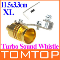 Wholesale 2014 New Universal Car Vehicle Turbo Sound Whistle Exhaust Pipe Tailpipe Fake BOV Blow off Valve Size XL cm Golden