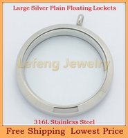 Cheap 34mm Large Silver Plain Floating Charm Lockets,316L Stainless Steel Glass Living Locket Pendant P369
