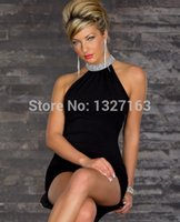 Wholesale Sexy Dress For Night Party - wholesale best retail Sexy cocktail Dress fashion Women Halter Neck Backless Mini dress for party Clubwear