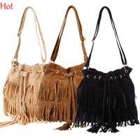 Wholesale 2015 New Fashion Tassel Shoulder Bag Womens European Hot Suede Fringe Handbags Messenger Bags String Crossbody Bag Brown Black Bags SV013740