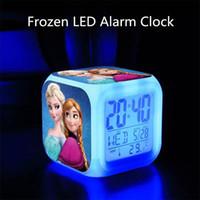 Wholesale Free Shiping Frozen LED Colors Change Lighting Digital Alarm Clock Princess Anna Elsa Thermometer Glowing Table Clocks