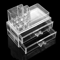 plastic drawer storage box - Plastic Transparent Drawers Cosmetic Desk Storage Box Makeup Products Cosmetic Organizer Holder Display Box W1551