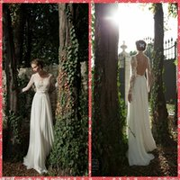 Cheap 2015 Berta Tulle Scoop Neckline Embroidery Lace Beaded Seuins Long Sleeve A-Line Wedding Dresses Backless Chiffon Sweep Train Bridal Gowns