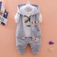 baby boy denim jacket - New Autumn Girls Boys baby clothing set Minion Suits Infant Clothes Set children Vest T Shirt Pants Sets baby Suits