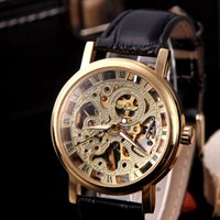 Wholesale Luxury Brilliant Skeleton Dial Leather Band Strap Hand winding Sport Mechanical Watches Wristwatches for Men H11606