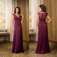 Cheap New 2015 Grape Cheap Mother of the Bride Dresses Beading Chiffon A-Line V-Neck Cap Sleeve Sheer Evening Dress Gowns for Groom Bridal Mother