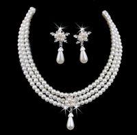 Accessoires de bijoux nuptiale de perle pas cher En vente sur la vente Collier et boucles d'oreilles ensemble pour mariées de mariage Livraison gratuite