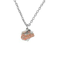 baltimore orioles gifts - 20pcs Poster Baltimore Orioles Team Logo Rhodium Plated Charm Lobster Clasp Bodybuilding Fitness Accessory Necklace A122274