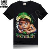 baby rock tees - w1215 Rocksir Men T Shirt D T Shirt Tshirt Cotton Rasta Baby Print Sport Hip Hop Rock Swag Male Hipster Black Tee Camisetas