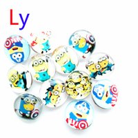 animal clay - 18MM Minion glass Despicable Me metal snap button fit DIY snap bracelet jewelry for snap button bracelet AC032