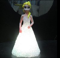 Wholesale Changeable Color Light Up Frozen Toys Anna Elsa Doll Light up Night Light Cute Catoon Barbie