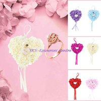 Wholesale Wedding Favors Ring Box Elegant Lace Rose Rhinestone Heart Design Special Unique Ring Pillow for wedding party Decorations