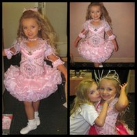 barrett necklaces - Charming V Neck Pink Feathers Cupcake Dress With Necklace Isabella Barrett Girls Pageant Dresses