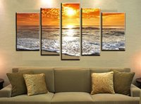 More Panel Oil Painting Impressionist 5 Panel Free shipping Wall Art Abstract Seascape Wave Group Oil Painting On Canvas For Wall Decor Ready To Hung At Wall F 428