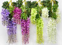 Wholesale New Arrive Romantic Artificial Flowers Simulation Wisteria Vine Long Short Plastic Silk Plant For Home Party Wedding Garden Decoration