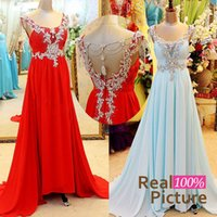 blue prom dresses - Real Image Light Sky Blue Red Chiffon Crystal Prom Dresses for Party Beads Backless Evening Celebrity Pageant Evening Gowns Plus Size