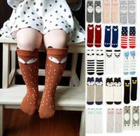 cartoon socks - 2015 Fashion unisex cartoon Animal leg warmers baby girls boys knee high Totoro Panda Fox socks kids cute Striped Knee Pad sock HX