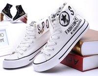 Wholesale NEW Men s Canvas shoes British printing design plimsolls high cut shoes movement leisure shoes NB23