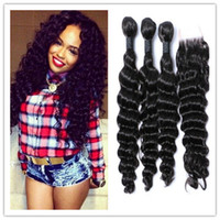 Cheap 8A Lace Closure With Brazilian Hair Bundles Deep Wave virgin remy Human Hair Weave Unprocessed human Hair Indian Peruvian Hair Extensions
