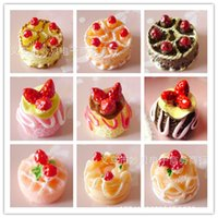 Wholesale 9pcs set Simulation play food strawberry chocolate birthday cake model toys ABS material for kids gift doll house DIY accessories cartoon