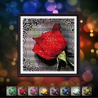 Wholesale 1 Panels Top Quality Needlework D DIY Wall Diamond Painting Cross Stitch Sewing Knitting Full Diamond Embroidery Dripping Rose
