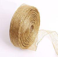 christmas ribbon - New Year s gift bag cm m Christmas ornament gold color ribbon Red Net checkered ribbon ribbons