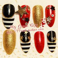 advance patch - pieces D Advanced fashion gold red black white false nail patch lactophrys