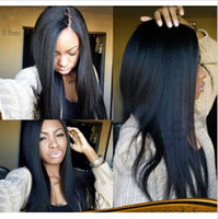Wholesale 7A grade yaki straight brazilian virgin human hair lace wigs natural color full lace wig front lace wigs density