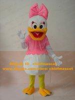 Fantaisie Blanc Duckling Die Ente QuackQuack Daisy Duck Mascot Costume Mascotte Adulte Avec Big Pink bowknot No.343 Livraison gratuite
