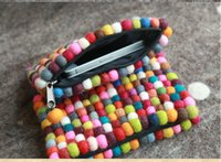 acrylic sphere - women clutch Colorful Special Handmade national trend nepal handmade wool felt sphere small ball bag day clutch