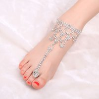 Wholesale Barefoot Beach Silver Chain Foot Tassel Toe Chain Jewelry Summer Style Anklet Ankle Bracelet Chaine Cheville Women Tornozeleira