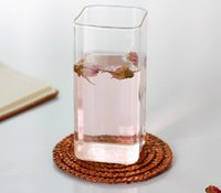 glass cups wholesale - Clear Glass Tea Juice Cup Milk Wine Beer Glass Cup Square cup ml