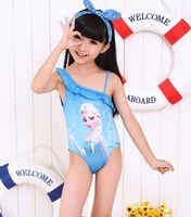 Wholesale Summer Girls Kids Blue Swimwear Dress Carton Princess Children bathing suits kids one piece swim suits Beach Supplies