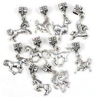 Wholesale New Styles Antique Silver Assorted Horses Alloy Pandora Big Hole Dangle Beads Loose Bead Fit Pandora Charm Bracelet