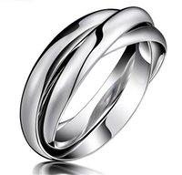 Wholesale Fashion Womens Titanium Stainless Steel Dome Tri Roll Links Band Stacked Silver Color Interlocked Polished Ring