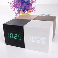 Wholesale Promotion Multi colors Best High end Digital Clocks Desktop Clock Home Decor Thermometer Wooden LED Clock Alarm Clock Rated
